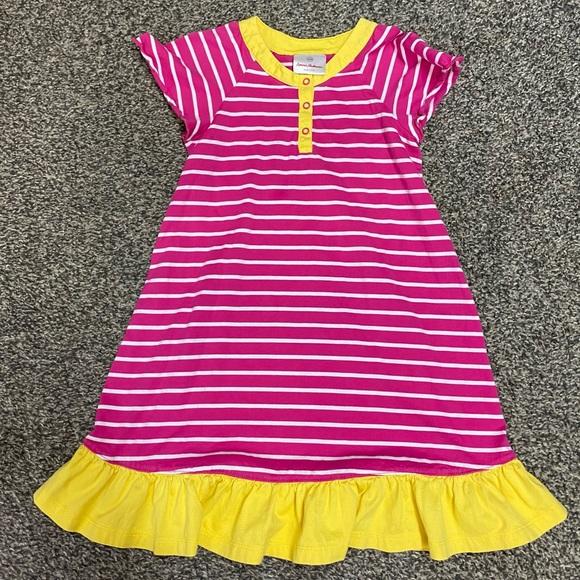 Hanna Andersson cotton button  dress pink stripe